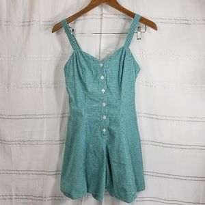 Vintage Rampage Gingham Romper Green and White